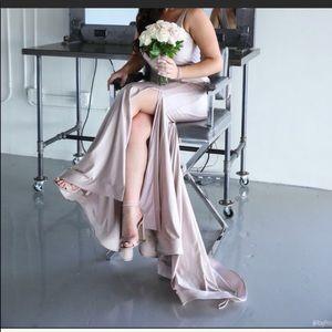 Blush long dress with a slit